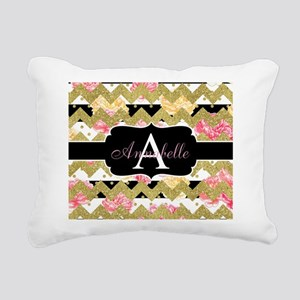 Chic Gold Chevron Monogram Rectangular Canvas Pill